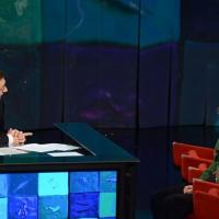"""Foto Nicoloro G. 23/02/2013 Milano Trasmissione televisiva su Rai3 """" Che tempo che fa """" condotta da Fabio Fazio. nella foto Fabio Fazio – Angela Finocchiaro"""