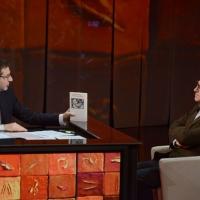 """Foto Nicoloro G. 24/02/2013 Milano Trasmissione televisiva su Rai3 """" Che tempo che fa """" condotta da Fabio Fazio. nella foto Fabio Fazio – Valerio Magrelli"""