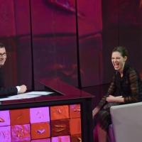 """Foto Nicoloro G. 24/02/2013 Milano Trasmissione televisiva su Rai3 """" Che tempo che fa """" condotta da Fabio Fazio. nella foto Fabio Fazio – Bianca Balti"""