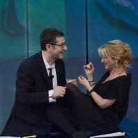 """Foto Nicoloro G. 24/02/2013 Milano Trasmissione televisiva su Rai3 """" Che tempo che fa """" condotta da Fabio Fazio. nella foto Fabio Fazio – Luciana Littizzetto"""