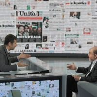 """Foto Nicoloro G. 24/09/2011 Milano Trasmissione televisiva su Rai3 """" Che tempo che fa """" condotta da Fabio Fazio. nella foto Fabio Fazio – Massimo Gramellini"""