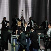 """Foto Nicoloro G. 24/12/2011 Milano Trasmissione televisiva su Rai3 """" Che tempo che fa """" condotta da Fabio Fazio. nella foto Luciana Littizzetto – Franca Valeri"""