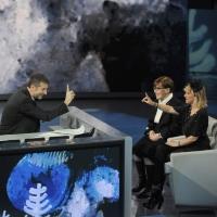 """Foto Nicoloro G. 24/12/2011 Milano Trasmissione televisiva su Rai3 """" Che tempo che fa """" condotta da Fabio Fazio. nella foto Fabio Fazio – Franca Valeri – Luciana Littizzetto"""