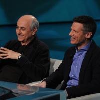 """Foto Nicoloro G. 25/02/2012 Milano Trasmissione televisiva su Rai3 """" Che tempo che fa """" condotta da Fabio Fazio. nella foto Roberto Faenza – Peter Cameron"""
