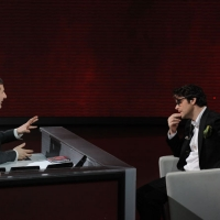 """Foto Nicoloro G. 25/02/2012 Milano Trasmissione televisiva su Rai3 """" Che tempo che fa """" condotta da Fabio Fazio. nella foto Fabio Fazio – Samuele Bersani"""