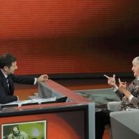"""Foto Nicoloro G. 25/09/2011 Milano Trasmissione televisiva su Rai3 """" Che tempo che fa """" condotta da Fabio Fazio. nella foto Fabio Fazio – Vito Mancuso"""