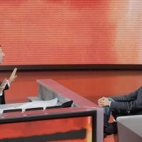 """Foto Nicoloro G. 25/09/2011 Milano Trasmissione televisiva su Rai3 """" Che tempo che fa """" condotta da Fabio Fazio. nella foto Fabio Fazio – Marco Travaglio"""