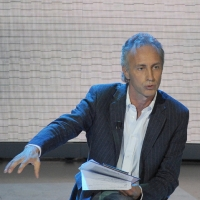 """Foto Nicoloro G. 25/09/2011 Milano Trasmissione televisiva su Rai3 """" Che tempo che fa """" condotta da Fabio Fazio. nella foto Marco Travaglio"""