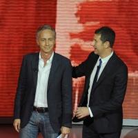 """Foto Nicoloro G. 25/09/2011 Milano Trasmissione televisiva su Rai3 """" Che tempo che fa """" condotta da Fabio Fazio. nella foto Marco Travaglio – Fabio Fazio"""