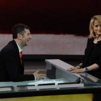 """Foto Nicoloro G. 26/02/2012 Milano Trasmissione televisiva su Rai3 """" Che tempo che fa """" condotta da Fabio Fazio. nella foto Fabio Fazio – Luciana Littizzetto"""