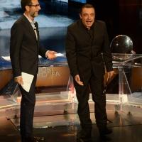 Foto Nicoloro G.   26/09/2015   Milano   Prima serata della nuova serie di trasmissioni su Rai 3 ' Che fuori tempo che fa '. nella foto Fabio Fazio e l' attore Nino Frassica.