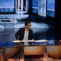 Foto Nicoloro G.   26/09/2015   Milano   Prima serata della nuova serie di trasmissioni su Rai 3 ' Che fuori tempo che fa '. nella foto Fabio Fazio tra Riccardo Scamarcio e Flavia Pennetta.
