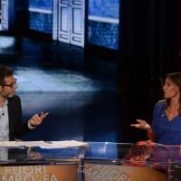 Foto Nicoloro G.   26/09/2015   Milano   Prima serata della nuova serie di trasmissioni su Rai 3 ' Che fuori tempo che fa '. nella foto Fabio Fazio e Flavia Pennetta.