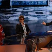 Foto Nicoloro G.   26/09/2015   Milano   Prima serata della nuova serie di trasmissioni su Rai 3 ' Che fuori tempo che fa '. nella foto Fabio Fazio tra Fabio Aru, a sinistra, e Riccardo Scamarcio.
