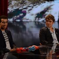 Foto Nicoloro G.   26/09/2015   Milano   Prima serata della nuova serie di trasmissioni su Rai 3 ' Che fuori tempo che fa '. nella foto Fabio Aru, a sinistra, e Riccardo Scamarcio.