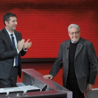 """Foto Nicoloro G. 26/11/2011 Milano Trasmissione televisiva su Rai3 """" Che tempo che fa """" condotta da Fabio Fazio. nella foto Fabio Fazio – Ettore Scola"""