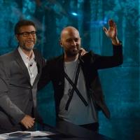 Foto Nicoloro G.  27/09/2015   Milano  Trasmissione televisiva su Rai 3 ' Che tempo che fa '. nella foto Fabio Fazio e il cantautore Giuliano Sangiorgi dei ' Negramaro '.