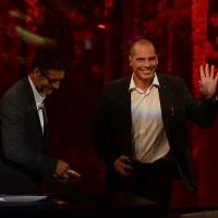 Foto Nicoloro G.  27/09/2015   Milano  Trasmissione televisiva su Rai 3 ' Che tempo che fa '. nella foto Fabio Fazio e l' ex ministro delle Finanze greco Gianis Varoufakis.