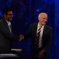 Foto Nicoloro G.  27/09/2015   Milano  Trasmissione televisiva su Rai 3 ' Che tempo che fa '. nella foto Fabio Fazio e l' allenatore di calcio Giovanni Trapattoni.