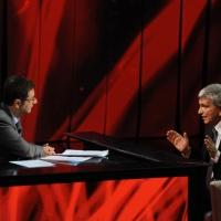 """Foto Nicoloro G. 29/10/2012 Milano Trasmissione televisiva su Rai3 """" Che tempo che fa """" condotta da Fabio Fazio. nella foto Fabio Fazio – Nichi Vendola"""