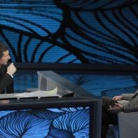 """Foto Nicoloro G. 29/01/2011 Milano Trasmissione televisiva su Rai3 """" Che tempo che fa """" condotta da Fabio Fazio. nella foto Fabio Fazio – Riccardo Iacona"""