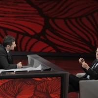 """Foto Nicoloro G. 29/01/2011 Milano Trasmissione televisiva su Rai3 """" Che tempo che fa """" condotta da Fabio Fazio. nella foto Fabio Fazio – Enrico Mentana"""