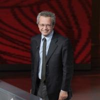 """Foto Nicoloro G. 29/01/2011 Milano Trasmissione televisiva su Rai3 """" Che tempo che fa """" condotta da Fabio Fazio. nella foto Enrico Mentana"""