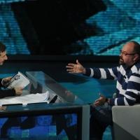 """Foto Nicoloro G. 03/03/2012 Milano Trasmissione televisiva su Rai3 """" Che tempo che fa """" condotta da Fabio Fazio. nella foto Fabio Fazio – Carlo Luiz Zafon"""