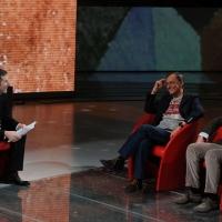 """Foto Nicoloro G. 03/03/2012 Milano Trasmissione televisiva su Rai3 """" Che tempo che fa """" condotta da Fabio Fazio. nella foto Fabio Fazio – Roberto Vecchioni – Vito Mancuso"""