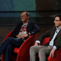 """Foto Nicoloro G. 03/03/2012 Milano Trasmissione televisiva su Rai3 """" Che tempo che fa """" condotta da Fabio Fazio. nella foto Roberto Vecchioni – Vito Mancuso"""