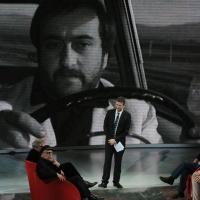 """Foto Nicoloro G. 03/03/2012 Milano Trasmissione televisiva su Rai3 """" Che tempo che fa """" condotta da Fabio Fazio. nella foto Vittorio Taviani – Paolo Taviani – Fabio Fazio – Roberto Vecchioni – Vito Mancuso"""