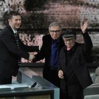 """Foto Nicoloro G. 03/03/2012 Milano Trasmissione televisiva su Rai3 """" Che tempo che fa """" condotta da Fabio Fazio. nella foto Fabio Fazio – Vittorio Taviani – Paolo Taviani"""