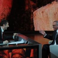 """Foto Nicoloro G. 04/03/2012 Milano Trasmissione televisiva su Rai3 """" Che tempo che fa """" condotta da Fabio Fazio. nella foto Fabio Fazio – Attilio Befera"""
