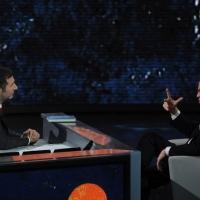 """Foto Nicoloro G. 04/03/2012 Milano Trasmissione televisiva su Rai3 """" Che tempo che fa """" condotta da Fabio Fazio. nella foto Fabio Fazio – Massimo Gramellini"""