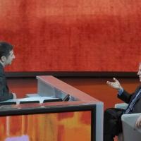 """NFoto Nicoloro G. 10/12/2011 Milano Trasmissione televisiva su Rai3 """" Che tempo che fa """" condotta da Fabio Fazio. nella foto Fabio Fazio – Massimo Mucchetti"""