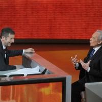 """Foto Nicoloro G. 17/12/2011 Milano Trasmissione televisiva su Rai3 """" Che tempo che fa """" condotta da Fabio Fazio. nella foto Fabio Fazio – José Carreras"""