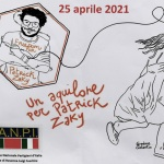 Foto Nicoloro G.   25/04/2021   Ravenna  In occasione del 25 Aprile, Festa della Liberazione, l' Anpi di Ravenna, ha voluto ricordare lo studente Patrick Zakj, detenuto da piu' di un anno nelle carceri egiziane, con il ' Volo dell' aquilone di Zakj '. nella foto il manifesto dell' iniziativa.