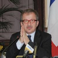 Foto Nicoloro G. 08/04/2011 Milano Vertice in Prefettura tra i ministri degli esteri d' Italia e di Francia sul problema dell' immigrazione. nella foto Roberto Maroni