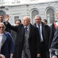 Foto Nicoloro G. 20/03/2011 Milano Visita del Capo dello Stato a Milano per partecipare alla celebrazione di Carlo Cattaneo e visitare il Museo del Palazzo reale. nella foto Giorgio Napolitano e la moglie Clio