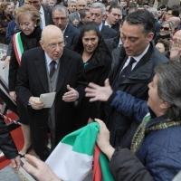 Foto Nicoloro G. 20/03/2011 Milano Visita del Capo dello Stato a Milano per partecipare alla celebrazione di Carlo Cattaneo e visitare il Museo del Palazzo reale. nella foto Giorgio Napolitano