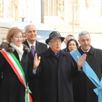 Foto Nicoloro G. 01/02/2011 Milano Visita del presidente Giorgio Napolitano al Museo del '900. nella foto Letizia Moratti – Roberto Formigoni – Giorgio Napolitano – Guido Podestà