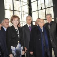 Foto Nicoloro G. 01/02/2011 Milano Visita del presidente Giorgio Napolitano al Museo del '900. nella foto Guido Podestà – Letizia Moratti – Roberto Formigoni – Giorgio Napolitano