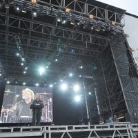 """Foto Nicoloro/Omega  26/09/2010 Cesena Seconda giornata del """" Woodstock 5 Stelle - Musica & Futuro """" organizzato dal """" Movimento 5 Stelle """" di Beppe Grillo all' interno del parco dell' Ippodromo di Cesena. nella foto Beppe Grillo parla dal megapalco"""