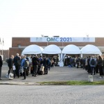 Foto Nicoloro G.   28/09/2021   Ravenna    XV edizione di OMC - Med Energy Conference che quest' anno pone al centro del dibattito la ' transizione ecologica '. nella foto visitatori ed espositori in fila all' ingresso per i controlli di rito.
