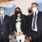 Foto Nicoloro G.   28/09/2021   Ravenna    XV edizione di OMC - Med Energy Conference che quest' anno pone al centro del dibattito la ' transizione ecologica '. nella foto al centro la presidente di OMC 2021 Monica Spada tra il ministro del petrolio della Libia Mohamed Oun, a sinistra, e il ministro del petrolio dell' Egitto Tarek El Molla.