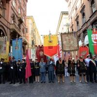 Foto Nicoloro G.  02/08/2014  Bologna    34esimo anniversario della strage alla stazione di Bologna. nella foto i gonfaloni delle città presenti alla cerimonia.
