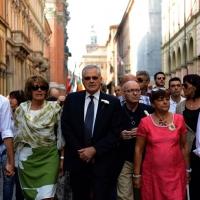 Foto Nicoloro G.  02/08/2014  Bologna    34esimo anniversario della strage alla stazione di Bologna. nella foto al centro Paolo Bolognesi, presidente della Associazione famigliari delle vittime.