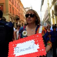 Foto Nicoloro G.  02/08/2014  Bologna    34esimo anniversario della strage alla stazione di Bologna. nella foto una partecipante al corteo.