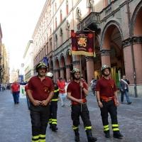 Foto Nicoloro G.  02/08/2014  Bologna    34esimo anniversario della strage alla stazione di Bologna. nella foto lo stendardo dei Vigili del Fuoco.