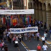 Foto Nicoloro G.  02/08/2014  Bologna    34esimo anniversario della strage alla stazione di Bologna. nella foto la testa del corteo.